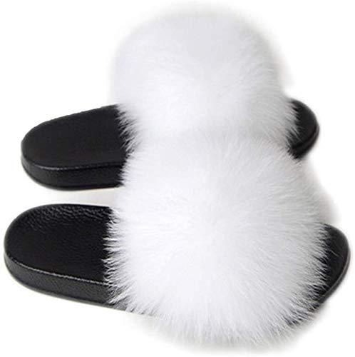 Mujer Slipper Verano Sandalias Planas Suaves Fluffy con Sweet Plush Slipper Outdoor Indoor Zapatos Pantuflas de casa Chanclas Antideslizantes de Felpa (Blanco, 44-45)