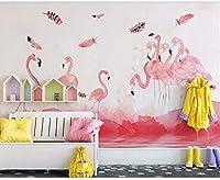 Djskhf 3D壁画シンプルなフラミンゴの羽のモダンな壁紙の背景の壁の装飾の寝室のリビングルーム 400X280Cm