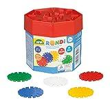 Lena 35946 Steckspiel Rondi 45 in Baudose, 55 Teile in bunten Farben, ca. 45 mm, Konstruktionsspielzeug mit Steckteilen, Mehrfarbig