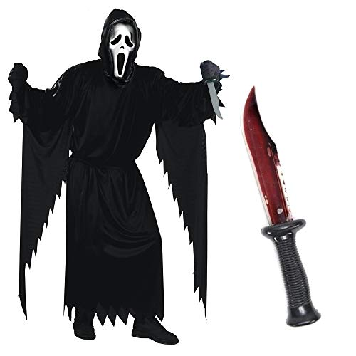 Party Fiesta Pack De Disfraz De Scream Oficial para Adulto con Cuchillo con Sangre Falsa (Adulto)