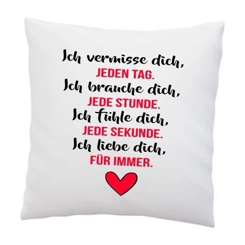 Liebeskissen mit Spruch ''Ich vermisse Dich, jeden Tag .'' - Deko-Kissen - Romantische Geschenkidee - weiß 40cm x 40cm - Kissen inkl. Füllung - Liebe - Schatz - Liebesbeweis -