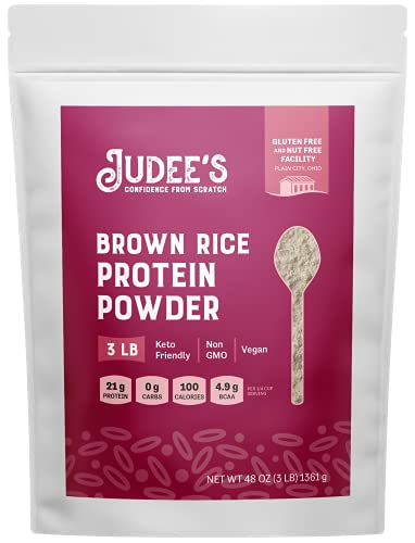 Judee's Brown Rice Protein Powder (80% Protein) 3lb - 100% Non-GMO, Sprouted - Dairy-Free, Keto-Friendly, Gluten-Free & Soy-Free - Plant-Based Protein