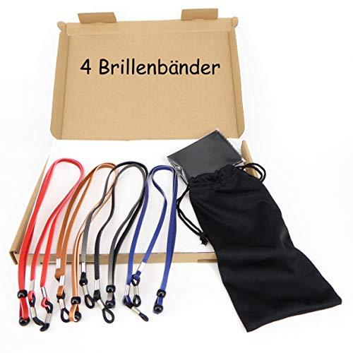 Hawhy 4 Stück Qualitäts Brillenband Brillenkette in 4 Farben aus starkem PU Material für alle Arten von Brillen geeignet,mit extra Anti Rutsch Öse die hält
