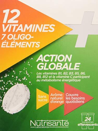 Nutrisanté Action Globale 12 Vitamines/7 Oligo-Eléments Multi-Vitamines/Minéraux 24 Comprimés