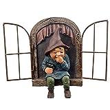 QCLU Adornos de jardín Gnome Estatua, Ventana de árbol de gnomo, Mini Gnomo Elfo Estatua Saca de la puerta Arete el árbol Hugger Decoración, Resina Dwarf Figurines Sculpture Sculpture Decoración y reg