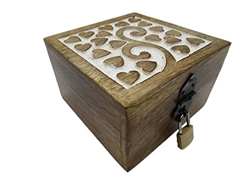 24HKS Herz Truhe mit Schloß Herzmotiv Herzmuster Holztruhe, Motiv Herz Schatztruhe Geschenk Geschenkbox Geburtstagsgeschenk mit Deckel (24 ks Herz 13x13x8 cm)