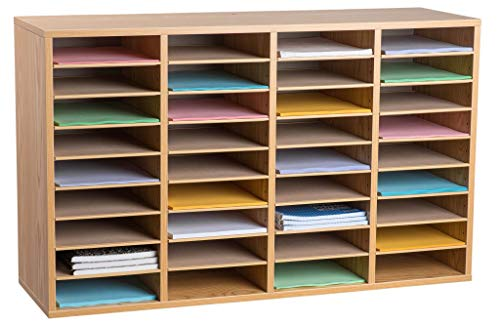 AdirOffice Wood Adjustable Literature Organizer - Removable Shelves - Heavy Duty Stackable Literature Organizer - Great for Office, Classrooms and Mail Rooms (36 Compartment, Black)