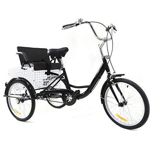 Tricycle - Triciclo per adulti da 20 pollici, Single Speed 3 ruote, per anziani, anziani, tempo libero, triciclo con seggiolino e cestino pieghevole, unisex, per anziani, sicuro e stabile