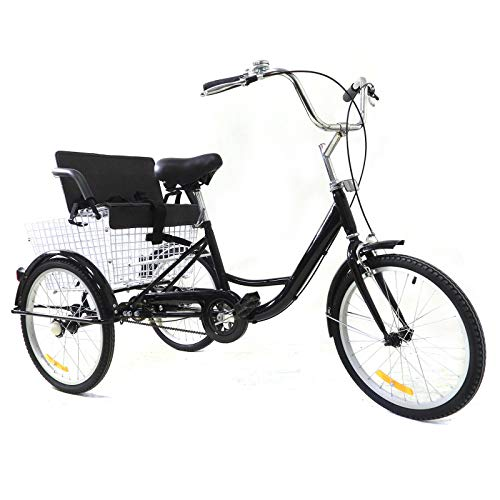 Futchoy 20 Inch Adult Tricycle Cruiser Bike Cycling Cargo Trike Upgraded Wheel...
