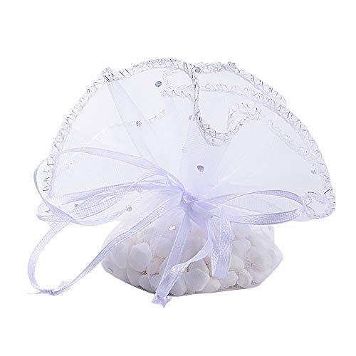 BUONDAC (Dia. 26cm) 50 pz Sacchetti Tulle Veli Organza con Nastrino Bomboniere Portaconfetti Come Segnaposto per Matrimonio Laurea Battesimo Compleanno Confezione Gioielli