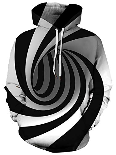 RAISEVERN Unisex Cool Hoodie Funny Drawstring Pullover Sweatshirts 3D Black and White Circle Swirl Print Long Sleeve Shirts Lightweight Hooded with Pockets for Men Women