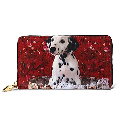 HUBGFEQ Leather Wallet,dalmatian puppy Print Wallet Genuine Leather Card Holder Phone Checkbook Organizer Zipper Coin Purse,Unisex