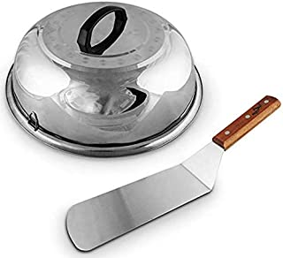 Large Cheese Melting Dome, Flat Grill Basting Cover Domes, Grill Lid Steam Cover, Silver Cheese Melt Dome + BONUS Hamburger Turner Spatula, Burger Griddle stainless steel wood flipper