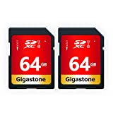 Gigastone 64 GB Tarjeta de Memoria SD, Paquete de 2, UHS-I U1 Clase 10 Tarjeta de Memoria SDXC Video Full HD de Alta Velocidad Canon Nikon Sony Pentax Kodak Olympus Panasonic Câmera Digital