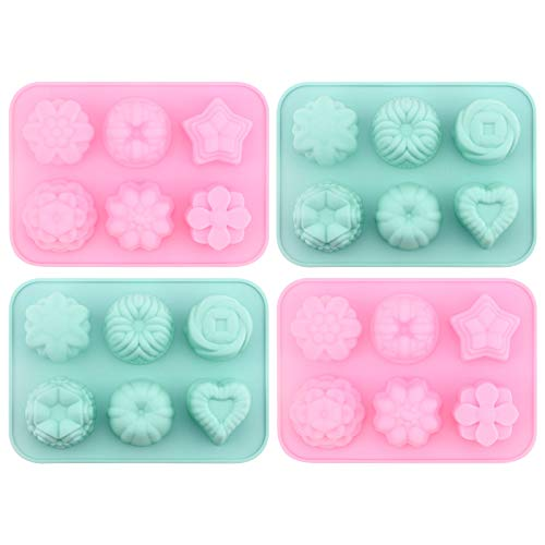 DIY Silicone Mold for Party Cake, Chocolate, Candy, Mousse, Pudding, Candle, Soap, 4 Pieces Silicone Mold with 6 Cavities (Pink 2 + Green 2)