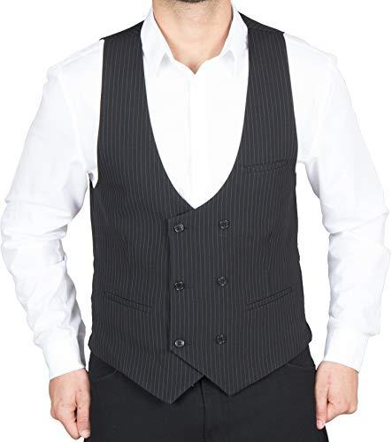Herren Anzug Weste Anzugsweste Schwarz/Weiß gestreifte Zweireiher Weste Vintage Stil von HK Mandel Größe 60