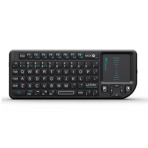 Rii 2.4G Mini Wireless Keyboard with Touchpad Mouse,Lightweight Portable Wireless Keyboard Controller with USB Receiver Remote Control for Windows/ Mac/ Android/ PC/Tablets/ TV/Xbox/ PS3. X1-Black .