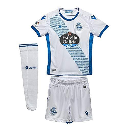 RC Deportivo Kit Infantil 3ª Equipación 2019/20 Camiseta, Niños, Blanco, JXS (5-6 años)