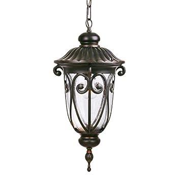 Goalplus Outdoor Pendant Light Fixture for Porch Bronze Exterior Hanging Lantern Light Fixture with Clear Seeded Glass 20 1/2  High IP44 Waterproof LMP0519-M