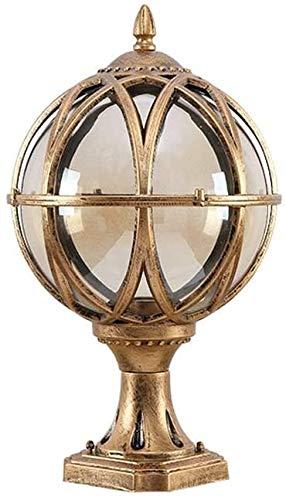 Popertr IP54 impermeable fundido a presión aluminio poste luz de cristal al aire libre e27 jardín columna lámpara de aluminio globo paisaje iluminación lujo lujo (Color : Brass)