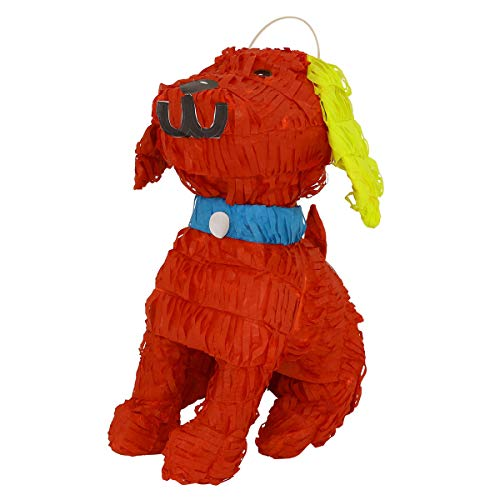 Lytio Red Dog Pinata Pooch Comes with Yellow Details and a Blue Collar Ideal for Animal Parties, Center Piece, Piñata Photo Prop and Décor …