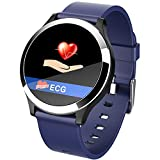 2020 New B65 Smart Watch ECG + PPG Blood Pressure Heart Rate Monitor Sports Mode Fitness Bracelet Men Waterproof Sports Smart Band,Blue
