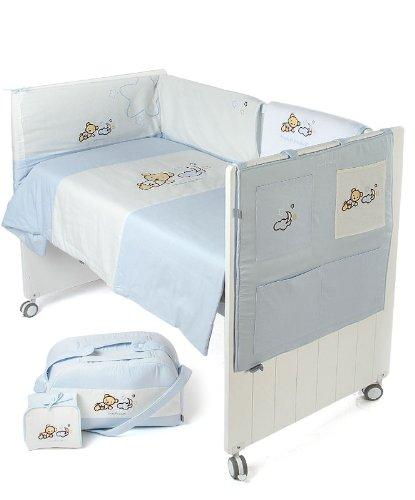 Naf-Naf 30353 Bettdecke mit füllung, Nestchen, Utensilo, Sommerdecke, Wickeltasche und Wickelunterlage Teddy Azul, 6 Stück