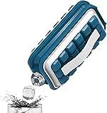 DAOLIN Hervidor portátil para Hacer Bolas de Hielo 2 en 1, moldes y bandejas para Cubitos de Hielo, con 18 Rejillas, Tapa de Cuerpo Plano, moldes para Cubos/paletas de Hielo de enfriamiento (A,Blue)