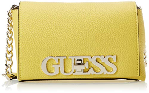 Guess Uptown Chic Mini Xbody Flap, bolso bandolera para Mujer, Amarillo (Yellow), 9x13x21 Centimeters (W x H x L)