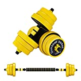 VOMSASN 2 in 1 Dumbbells Set Barbell Adjustable Weight Up to 44Lbs Comfortable Grip Suitable Weight for Workout, Whole Body Exercise, Home Fitness and Strength Training