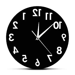 The Geeky Days Reverse Wall Clock 12 inch Unusual Numbers Backwards Modern Decorative Clock Watch Excellent Timepiece for Your Wall