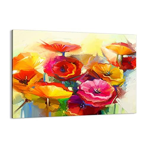 Quadro su tela - Elemento unico - Fiori Primavera flora giardino - 70x50cm - Pronto da appendere - Home Decor - Stampe su Tela - Quadri Moderni - completamente incorniciato - AA70x50-2877