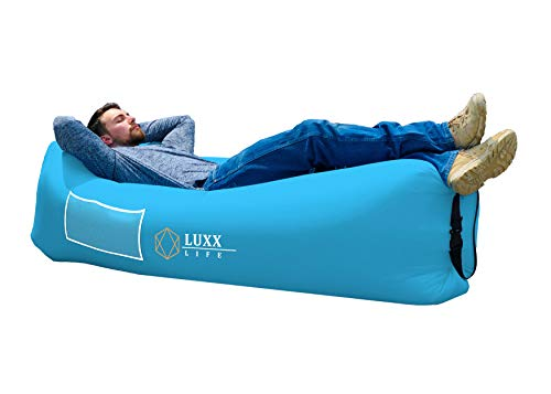 LUXX LIFE - Inflatable Lounger Camping Sofa Air Lounger - Camping, Hiking, Traveling, Park, Beach, Pool, Lakeside, Picnic, Festivals - Durable & Waterproof - Indoor/Outdoor Use, Pack of 1, Sky Blue