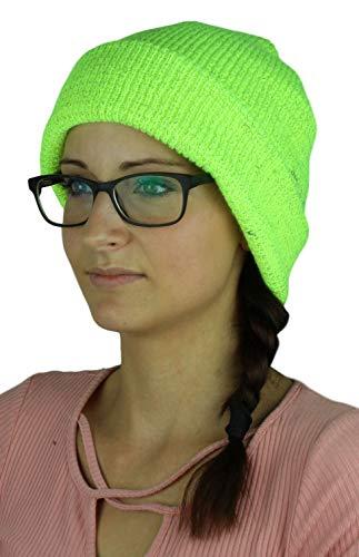 Guuja Reflektierende Winter Mütze Herren Damen Wintermütze Strickmütze Beanie mit reflektierenden Fasern in fluoriszierend gelb