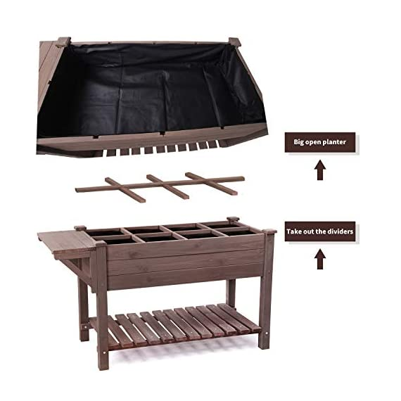 Raised Garden Bed for Herbs, Patio Elevated Flower Planter Vegetable Boxes with Grow Grid - Large Storage Shelf 4 ★ Upgrade with EXTRA side workstation and large bottom storage layer provides a spacious and convenient place to work & store. ★ Easy Growing Up To 8 different herbs/flowers/vegetable with grow grid. The dividers can be easy remove so it's one BIG OPEN PLANTER. ★ FREE INNER LINING are include to separate wood and soil. Spacious raised planter to ensure your plants and vegetables can breathe and grow healthy.