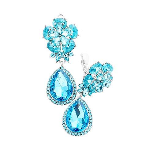 Schmuckanthony Hoernel - Pendientes largos de clip con diseño de flores y gotas de cristal, color azul claro, 5 cm de largo