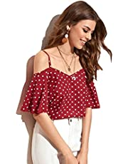 Istyle Can Women's Polka Dot Butterfly Sleeve Cold Shoulder Top