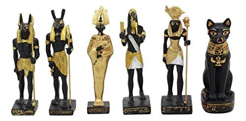 Ebros Estatueta em miniatura de Deuses do Egito Clássico Egito Estátua em miniatura Lendas do Egito Antigo Escultura Educacional Colecionável (conjunto com 6 divindades miniatura sortidas)