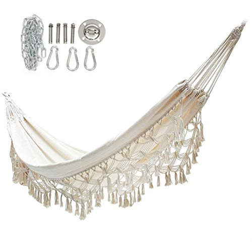SZKP Tassel Double Hammock, Portable White Canvas Lace Hammock Chair, Travel Camping Beach Indoor Outdoor Hammock 320cm (Size : 5)