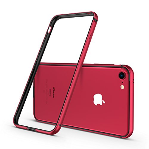 iPhone 8 Case, iPhone 7 Bumper Case,CASEKOO [Aluminum Frame+TPU Inner] Shockproof Protective Bumper Case for iPhone 8 /iPhone 7 [Metal Series]-Red