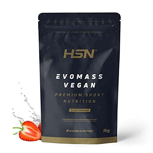 Gainer Ganador de Peso Vegano Evomass Vegan de HSN | Proteínas y Carbohidratos | Aminograma Completo con Proteína de Guisante + Soja + Arroz | NO-GMO, Sin Gluten ni Lactosa | Sabor Fresa | 1 Kg