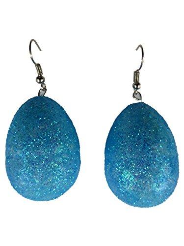 Ohrringe Ohrhänger Hänger Ostern Oster Osterei Ei - federleicht - Polystyrol blau Glitzer 8383B