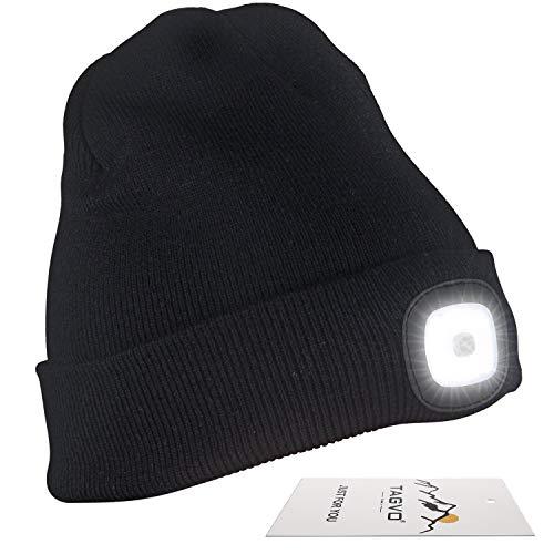 TAGVO USB Recargable Beanie Cap, iluminación y destellando Modos de Alarma 8 LED Manos Libres Linterna, fácil instalación Quick Release Headlamp Beanie, Unisex Winter Warmer Knit Cap Hat