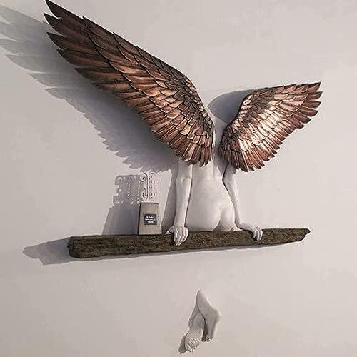 Zueyen Engel Kunst Skulptur Ikarus hatte eine Schwester Engel Flügel Wanddekoration 3D Relief Statue Ornamente Dekor Home Figur für Wohnzimmer Schlafzimmer (20*15cm)