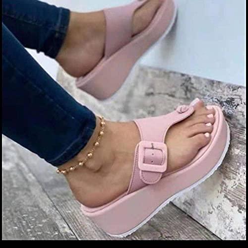 ypyrhh Palabra de Mujer con Sandalias,Tamaño Grande 趾 Zapatillas,cuña de Moda con Fondo Grueso-Rosa_37,Tira Ancha Suela con Agujero