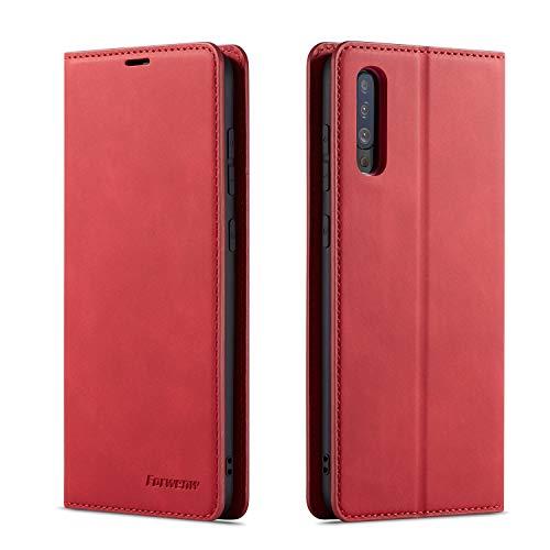 Forwenw Étui portefeuille en cuir pour Samsung A Samsung Galaxy A50/A50S/A30S Rouge