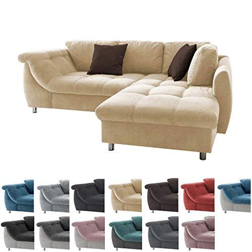lifestyle4living Ecksofa in Creme mit Schlaffunktion   Eckcouch Eckgarnitur Polsterecke L-Couch Sofa L Form   Moderne Wohnlandschaft inkl. Rückenkissen und Zierkissen