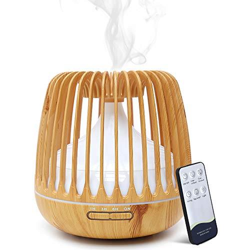Simpeak 500ML Diffusore di Oli Essenziali, Aroma Ultrasuoni 2 modalità nebbia con Telecomando per SPA, Yoga, Camera da Letto, Soggiorno- Marrone Chiaro