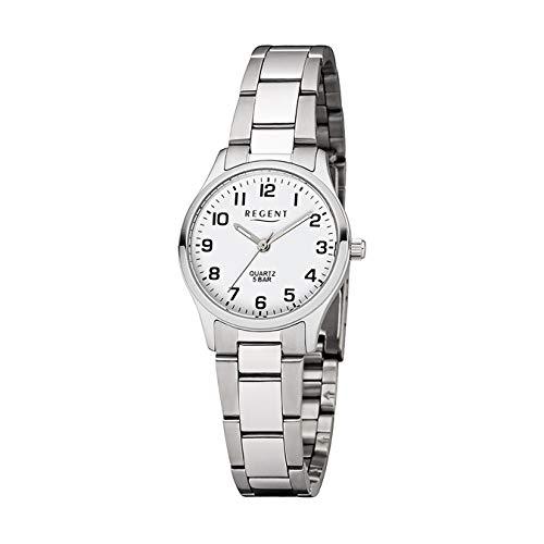 Regent Damen-Armbanduhr Elegant Analog Edelstahl-Armband silber Quarz-Uhr Ziffernblatt weiß UR2253410