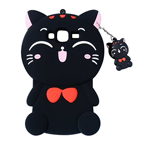 Black Cat Case for Samsung Galaxy On 5,Grand Prime Case,J2 Prime Lucky Cover,3D Cute Cartoon Animal Shell,Joyleop Kids Girls Soft Silicone Kawaii Character Fashion Protector Galaxy Prime G530 J5,J510